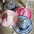 Хепберн Ветер Черный Белый Полосатый Бантом Лето Девушки Вс Hat красивые Женщины Соломенная Шляпа Пляж Шляпа Большой Шляпе для ребенок
