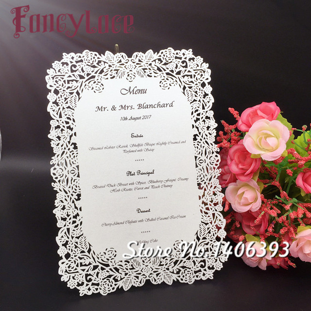 17x12cm White/ Ivory Laser Cut Rose Table Place Card diy Wedding ...