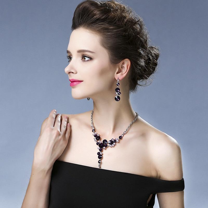 Bra kvinnor brudklänning tillbehör lyx lila blomma kristall strass - Märkessmycken - Foto 5