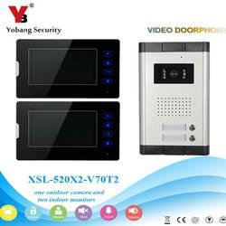 YobangSecurity 1-Камера 2-монитор 7 дюймов HD видео телефон видеодомофон дома дверной звонок Системы Ночное видение 2 доступа управление