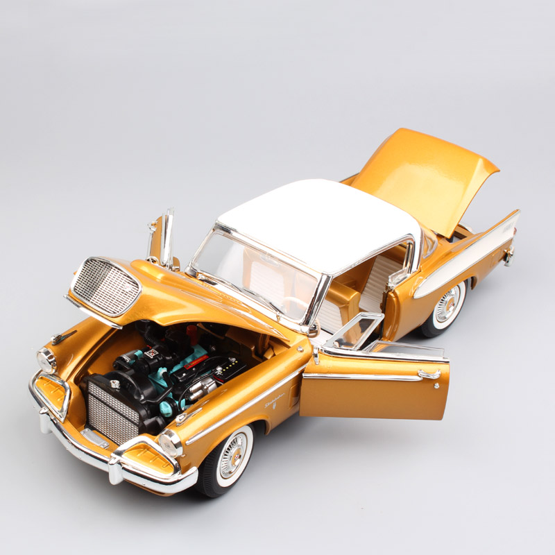 1:18 Scale kids luxury vintage 1958 Studebaker Golden Hawk coupe diecast metal model auto Car-styling Car toys gold for children