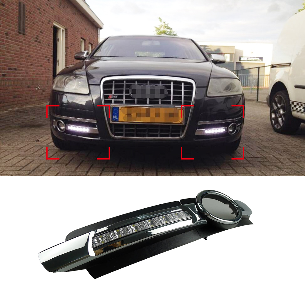 Car DRL Kit for Audi A6 L C6 2005-2008 LED Daytime Running Light Bar super bright auto fog lamp daylight for car led drl light car drl kit for audi a4 l b8 2009 2012 led daytime running light bar super bright auto fog lamp daylight for car led drl light