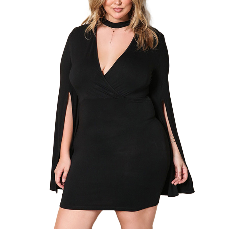2017 Ladies Fashion Elegant Mini Vestidos Big Size Deep V-neck Long Split Sleeve Bodycon Plus Size Knitted Black Woman Dress black plunge v neck irregular split bodycon dress