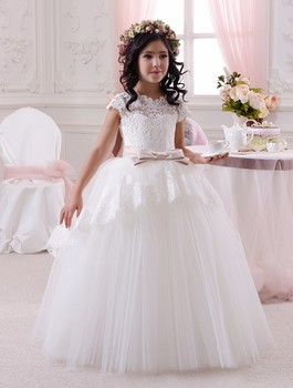 Flower Girl Dresses First Communion Dresses Girls Kids Ball Evening Gowns White Satin Lace Bow Belt Kids Wedding Gown