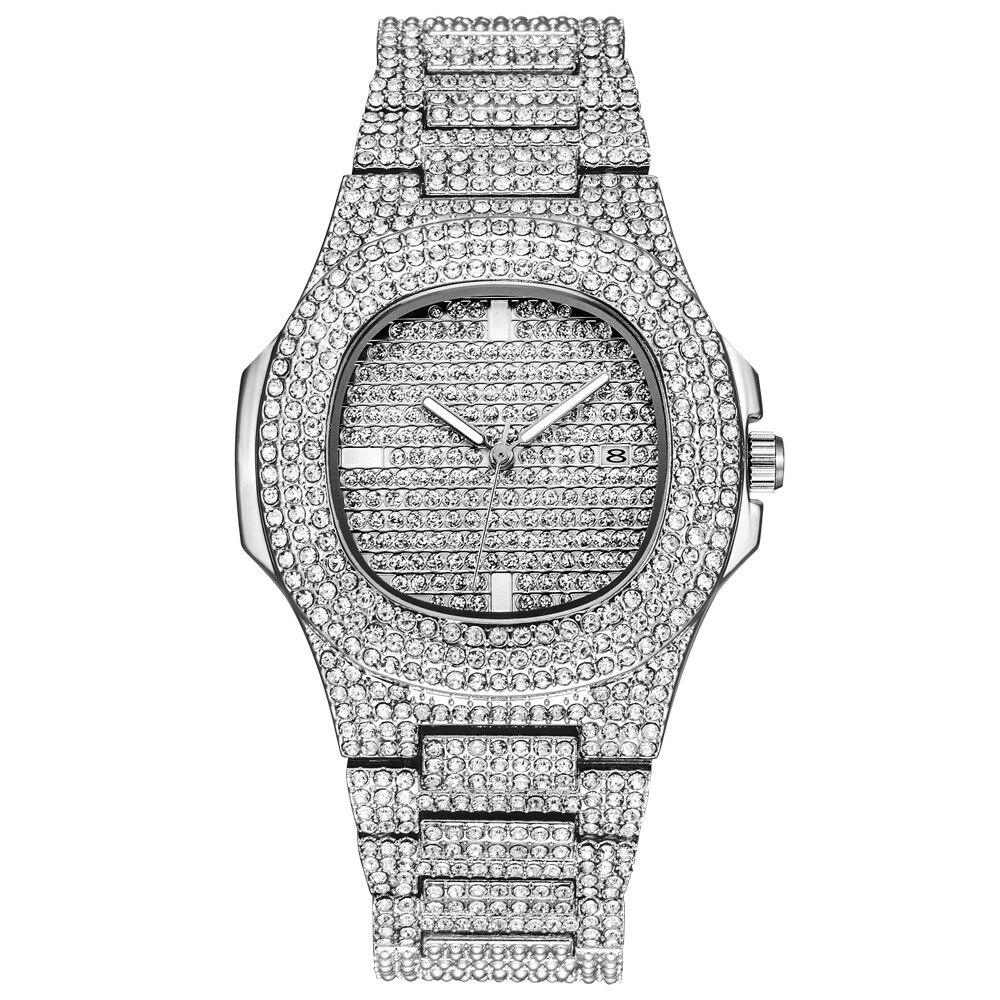 Papel hip hop relógio bling diamante relógio masculino pulseira de aço prata negócios quartzo relógios de pulso à prova dwaterproof água relogio masculino