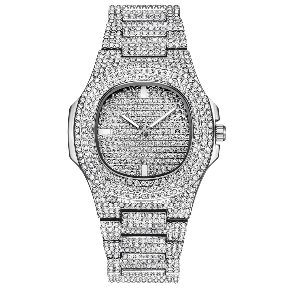 Role Hip Hop Watch Bling Diamond Watch Men Silver Steel Band Men's Business Quartz Wrist Watches Waterproof Relogio Masculino