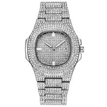 Роль хип-хоп Смотреть Bling Diamond Часы Для мужчин Серебряный Сталь группа Для Мужчин's Бизнес кварцевые наручные часы Водонепроницаемый Relogio Masculino