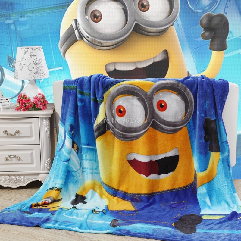 Hot Sale Minions Blanket for Children Gift Cartoon Marie Cat Spiderman Avengers Coral Fleece Blanket Throw on Bed Sofa 150x200cm