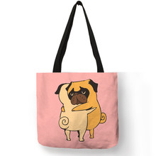 Unique Female Bags 2018 Cartoon Funny Animal Dog Cat Printing Handbag Eco Linen Foldable Practical Women Totes(China)