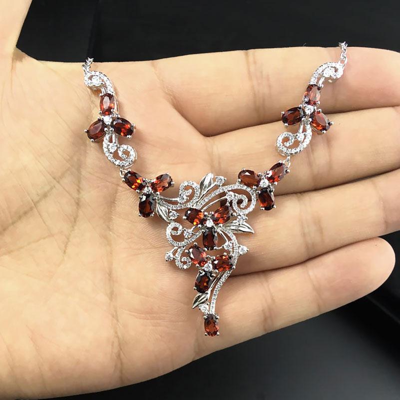 Natural garnet permata batu pernikahan kalung 925 sterling silver - Perhiasan bagus - Foto 6