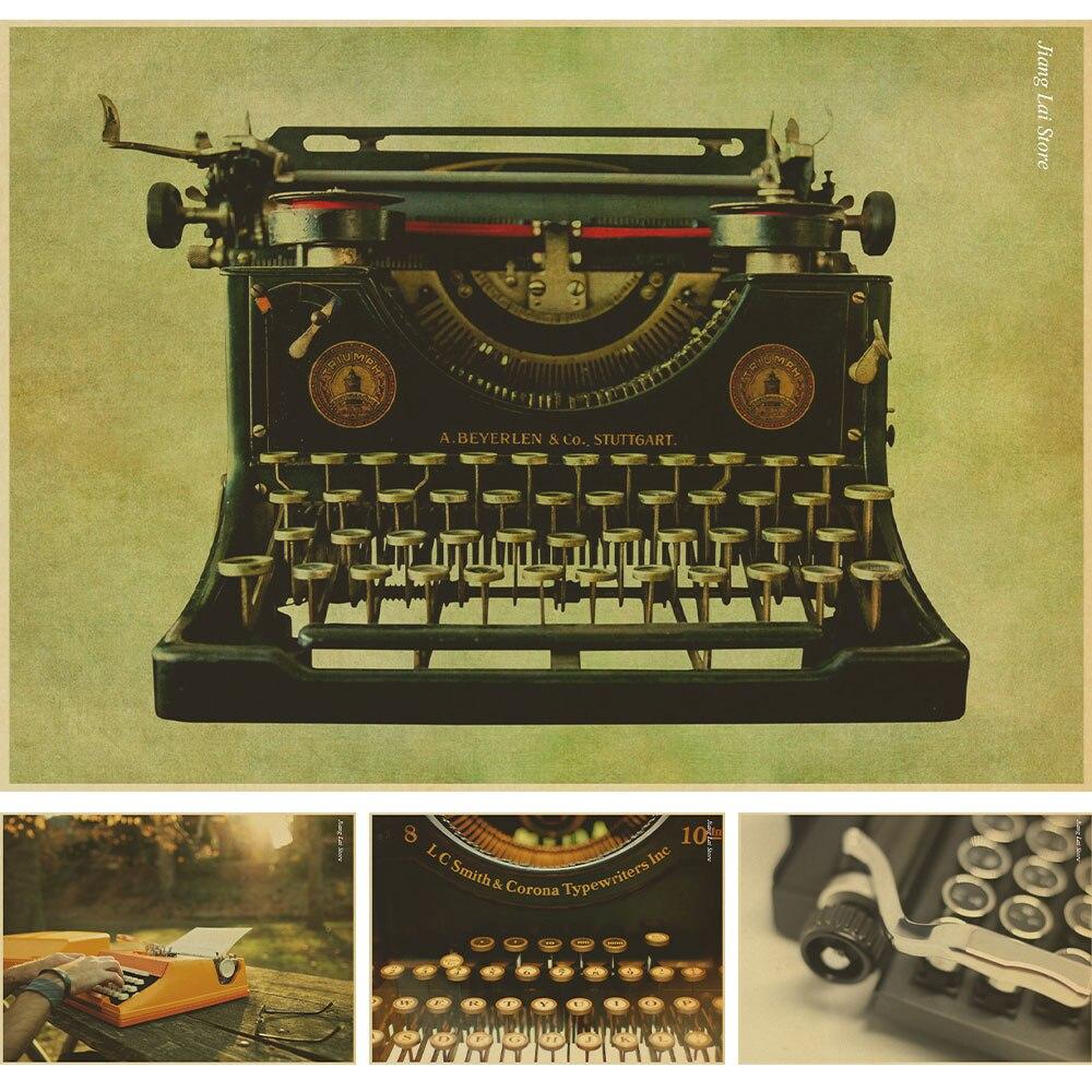 Online Shop Nostalgic Old Typewriter Old Paper Poster Vintage Wall Sticker Nostalgic  Home Decor Bar Pub Cafe Retro Painting | Aliexpress Mobile