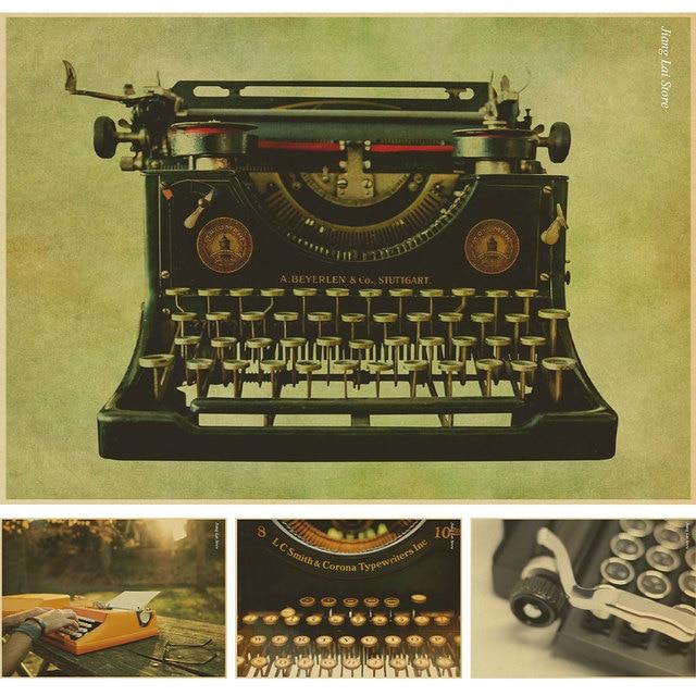 Nostalgic Old Typewriter Paper Poster Vintage Wall Sticker Home Decor Bar Pub Cafe Retro