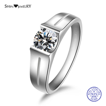 цена на ShiPei 100% 925 Sterling Silver 2ct White Sapphire Round Engagement Ring Fine Jewelry Promise Ring for Couple Anniversary Gift