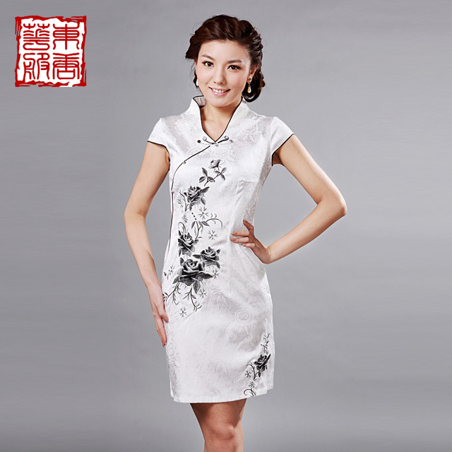 Cheongsam 2013 chinese style breathable stretch cotton embroidery rose slim cheongsam dress