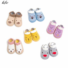 1 Pair Baby Shoes Boys Girls Socks Anti-Slip Soft PU Leather Moccasins Cartoon Animal Pattern Toddler Walking Practice