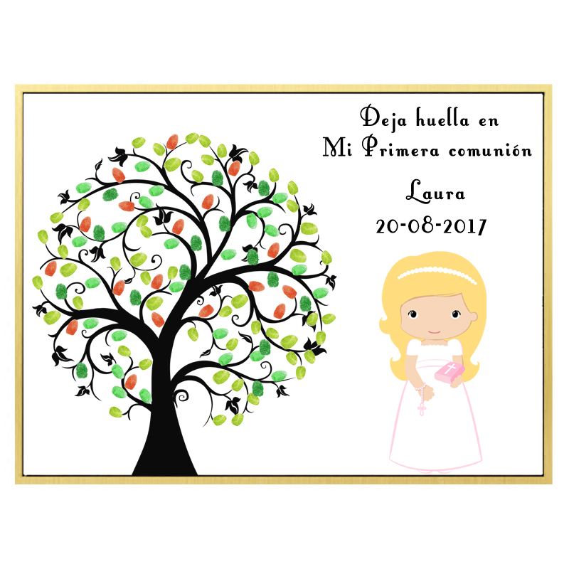 Customize Name Date For Girls Baptism Souvenir First Communion Gift Fingerprint Tree Blond Girl Christening Baby Shower Decor