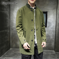 Spring New Jacket Men Stand Collar Long Jacket Coat Solid Color Casual Outwear Army Outdoors Clothes Male Bomber Jackets 1242