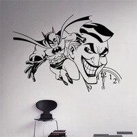Joker And Batman Wall Vinyl Decal Comics Sticker Superhero Home Interior Art Decor Ideas Bedroom Kids