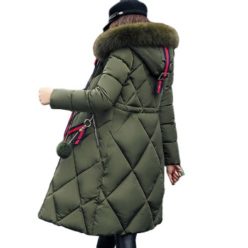 N.XINZHE Big fur hooded winter coat women thickened parka slim long jacket down cotton ladies down parka women winter jacket