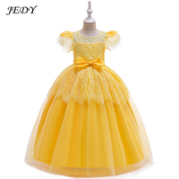 Summer 6 17 Years Girl Pure Cotton Lining Lace Wedding Long Dress Baby Party Princess Ball Gown Yellow 8 9 10 11 12 To 16 Years
