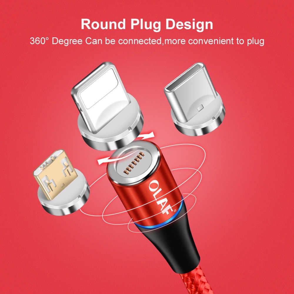 Магнитный кабель Олаф 2 м 3 А для быстрой зарядки 3,0 Micro USB зарядное устройство Type C для быстрой зарядки iPhone 7 XS Samsung S8 магнитные телефонные кабели