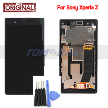 Black&White for Sony for Xperia Z L36h C6603 LT36 LCD touch screen digitizer with Frame assembly+Opening Tools,Free shipping!!