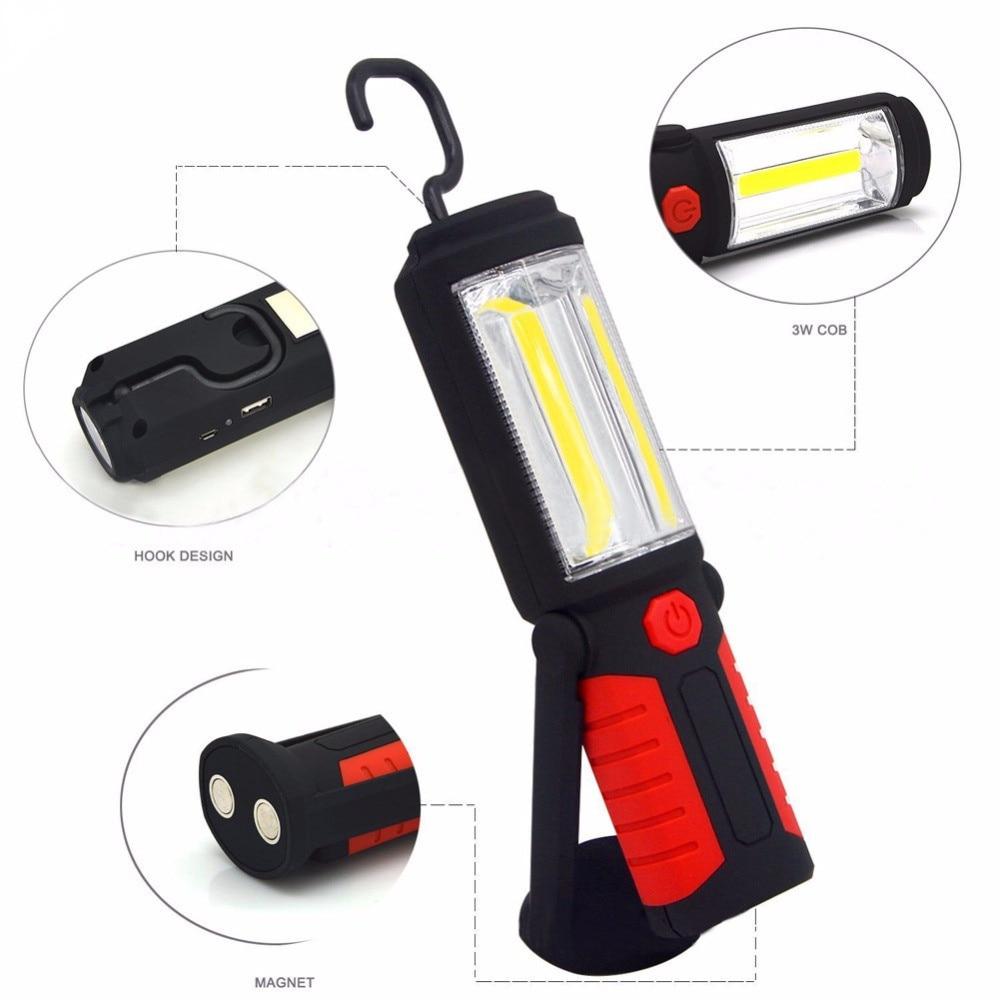 Poderoso Portátil 3000 Lumens COB LED Lanterna Recarregável Luz de Trabalho de 360 Graus Suporte Magnético Pendurado Lanterna Lâmpada Para O Trabalho