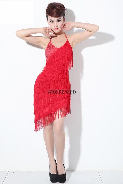 107c3857612265 Kwastje omzoomd sequin backless latin argentijnse tango ballroom dance  salsa bal danser dansen kostuum jurk zwart