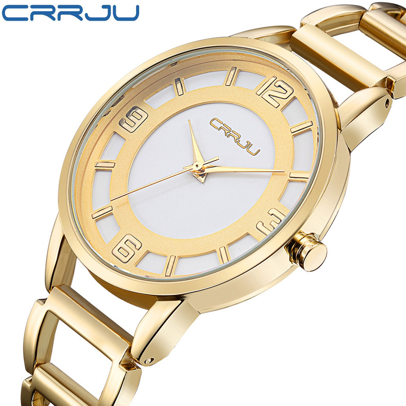Luxury Brand CRRJU Quartz Watch Women Gold Steel Bracelet Watch 30M waterproof Fashion Ladies Dress Watch