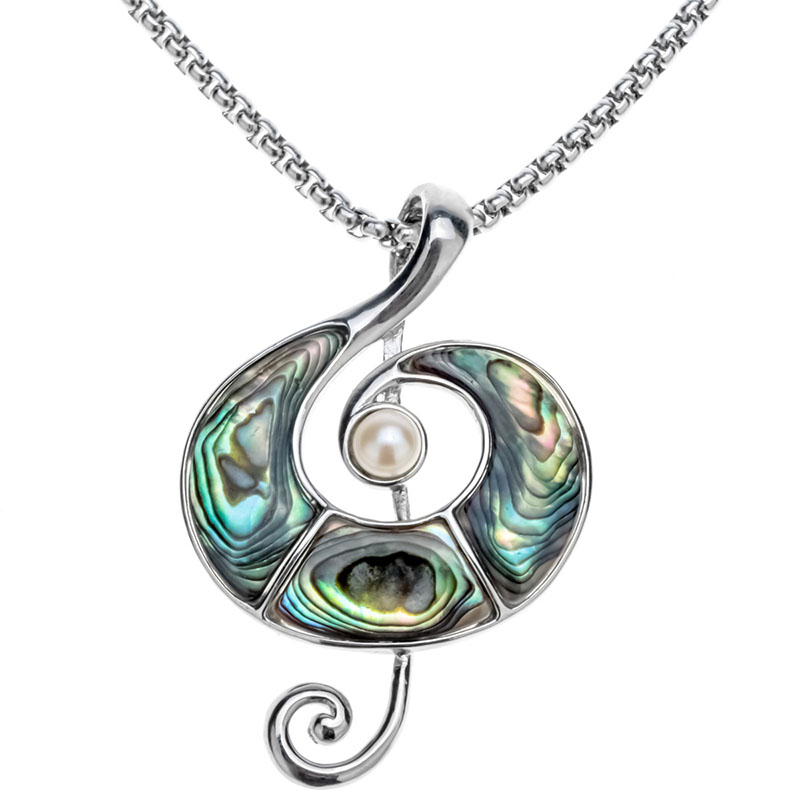 Abalone Shell Music Note Necklace Pendant W Stainless