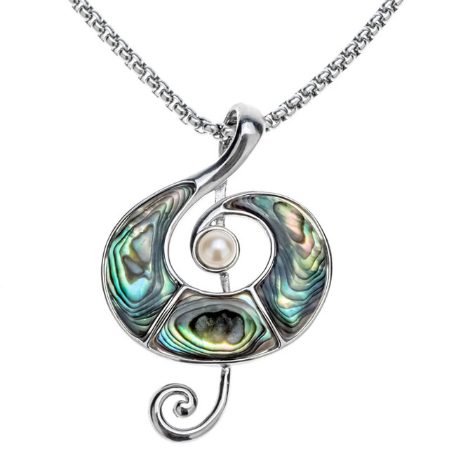 Abalone Shell Music Note Necklace Pendant W Stainless Steel Chain Jewelry Birthday Gifts For Women Her Wife Girlfriend I031
