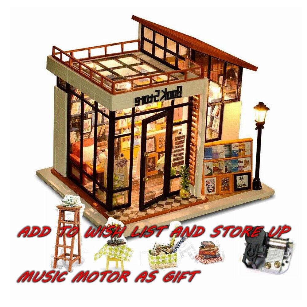 DIY Doll House Miniature Dollhouse Model Wooden Toy Furnitures Casa De Boneca Dolls Houses Poppen Birthday Gift Book Store doll house diy miniature dollhouse model wooden with furnitures casa de boneca toys adventure tour