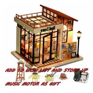 Dom dla lalek dom dla lalek miniaturowy Model drewniane zabawki meble Casa De Boneca lalek domy Poppen prezent urodzinowy księgarnia