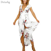 Womens Boho Style Floral Print Splits Long Dress Ladies Plus Size Short Sleeve V Neck Chiffon