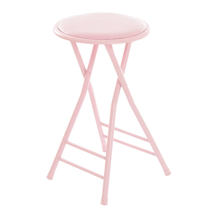 Trademark Home Collection 24 x 14 Cushioned Folding Stool - Pink
