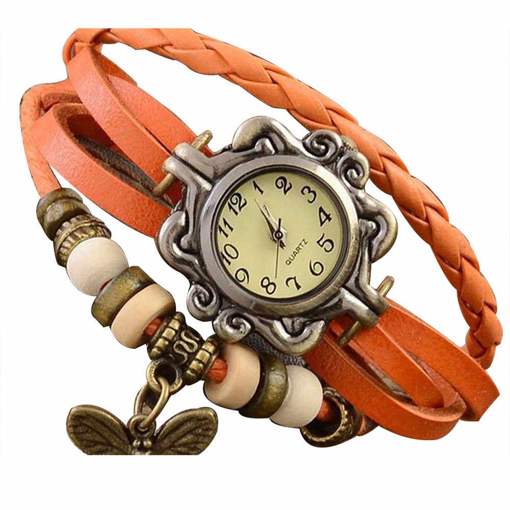 Retro Weave Wrap Lady Bead Butterfly Bracelet Women Quartz Wrist Watch 2019 Hot Женские часы Reloj de dama Wd3
