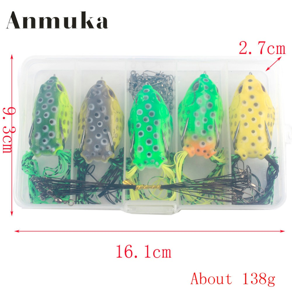 Anmuka Topwater Frog Lure Fishing Lure 25Pcs/Box Set Kit Plastic Soft Lure with Lead For Bass Snakehead Fishing anmuka frog fishing lures kit snakehead lure topwater floating frog baits with box pesca isca artificial