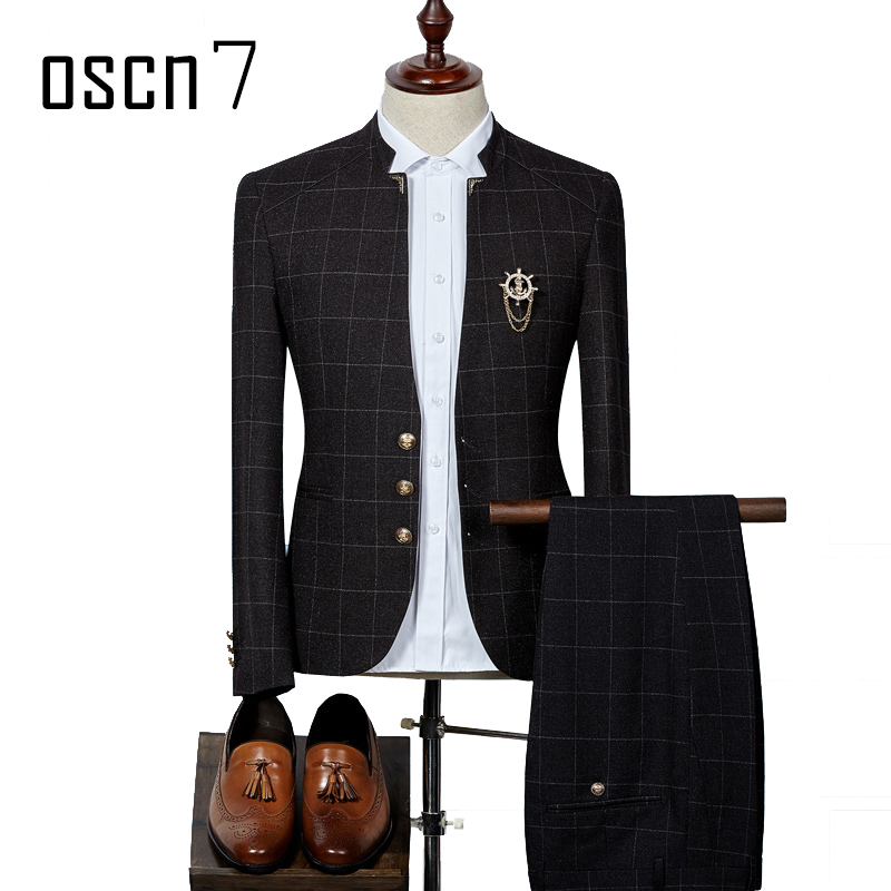 OSCN7 Plaid Suit Men Slim Fit Stand Collar 2017 New Terno Masculino 2 Piece Wedding Suits for Men Costume Homme (blazer+pants)