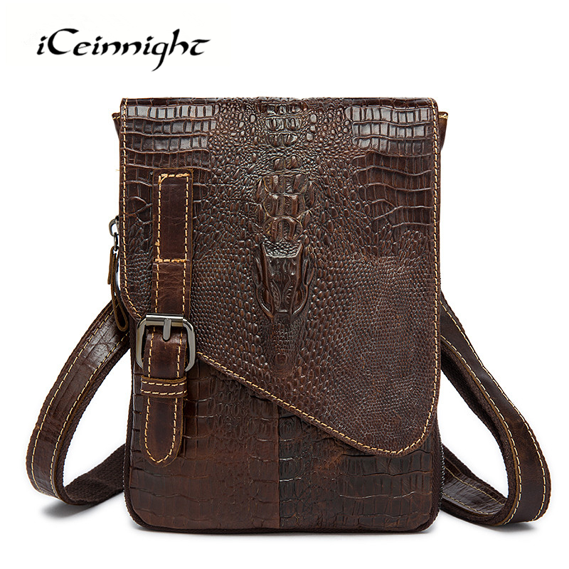iCeinnight Casual Genuine Leather Men Messenger Bags Famous Brand Fashion Alligator Crossbody Bag High Quality Men Shoulder Bag