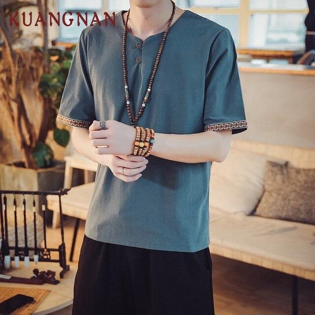 kuangnan chinesischen stil streetwear t hemd manner mode vintage baumwolle leinen t hemd manner kleidung v