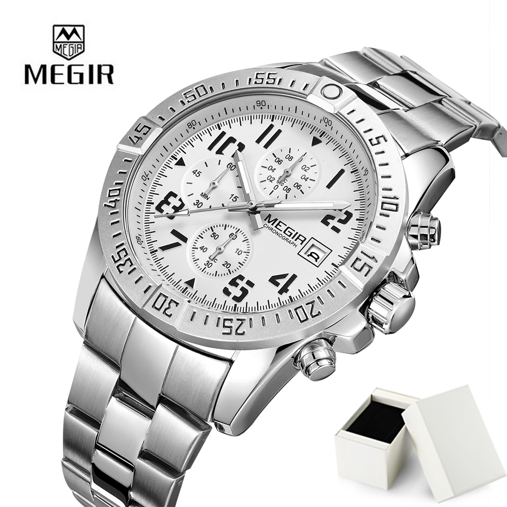 2018 Men Business Quartz Watch Megir Luxury Brand For Men Full Stainless Steel Brand Waterproof Chronograph Relogio Masculino стоимость