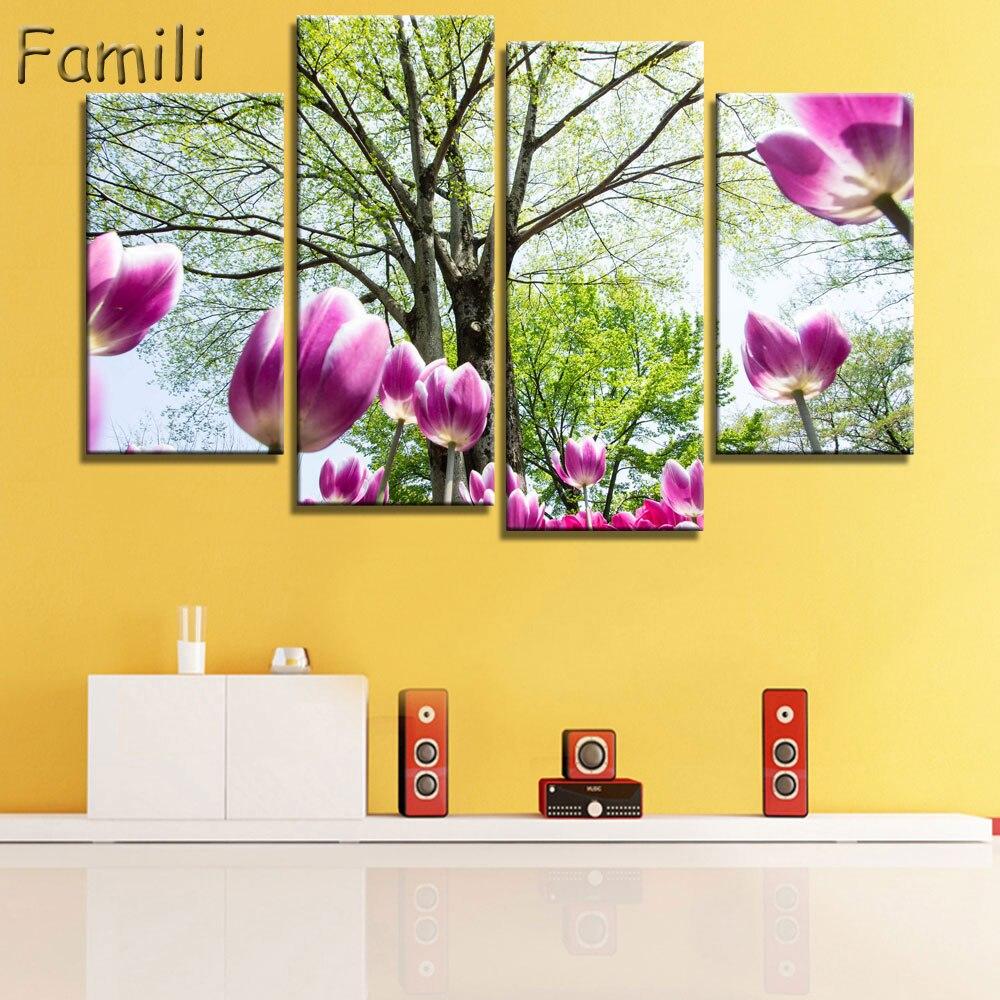 Aliexpress.com : Buy 4pcs Wall Art Canvas Painting Purple Flowers ...