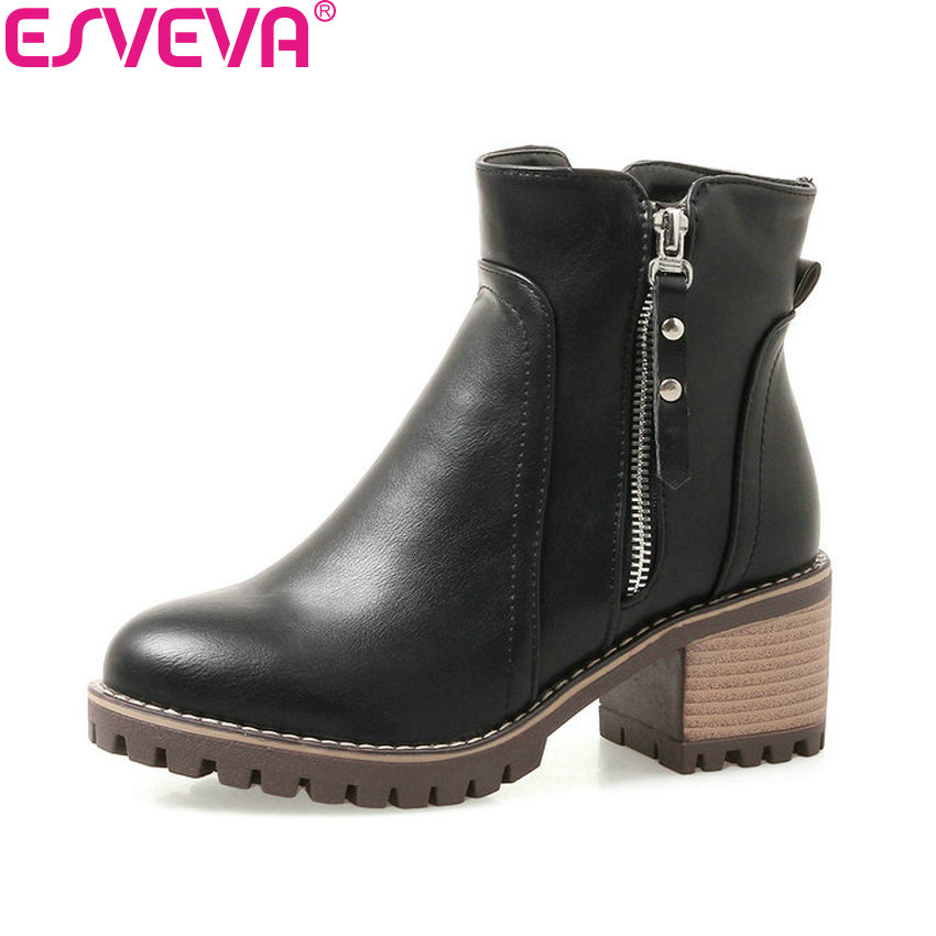 ESVEVA 2018 Women Boots Square High Heel Ankle Boots Solid Round Toe Platform 1.2cm Concise Zippers Ladies Shoes Size 34-43 esveva 2018 women boots zippers black short plush pu lining pointed toe square high heels ankle boots ladies shoes size 34 39 page 5
