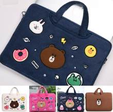 Brown bear plush cartoon cute embroidery shockproof laptop notebook tablet bag protector 11 inch handbag(China)