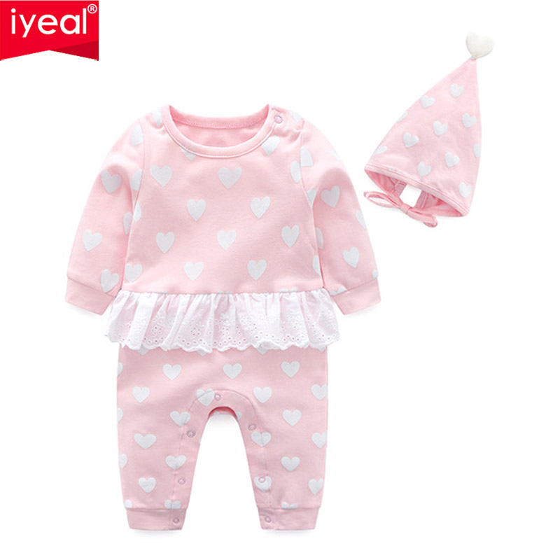 IYEAL Spring Autumn Baby Girl Rompers With Hat Princess Newborn Baby Clothes Infant Girls Jumpsuit Kids Baby Outfits Clothes iyeal new spring autumn baby rompers cartoon christmas deer cotton sweater infant girl boy jumpers kids baby outfits clothes