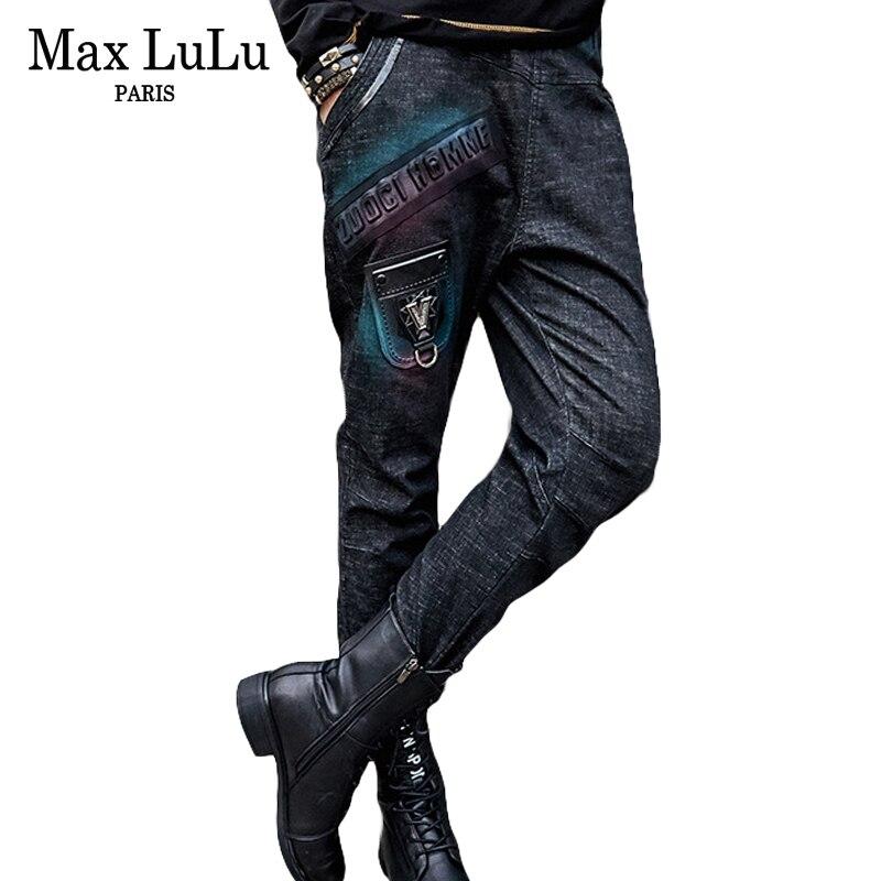Max LuLu Autumn Fashion Vintage Girls Elastic Harem Pants Korean Womens Black Skinny   Jeans   Ripped 3d Prined Woman Denim Trousers