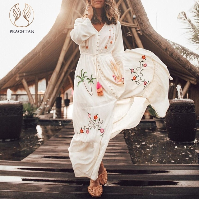 6b8e52c782cc3 Peachtan Long sleeve sarong caftan Flamingo embroidery cover-ups Long tunic  women's beach dress Summer beachwear bikinis 2019