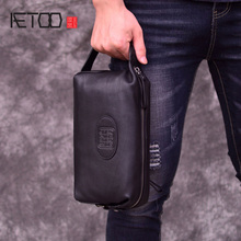 AETOO Handbag, male leather retro chinese style handbag, casual mens head cowhide mobile phone bag