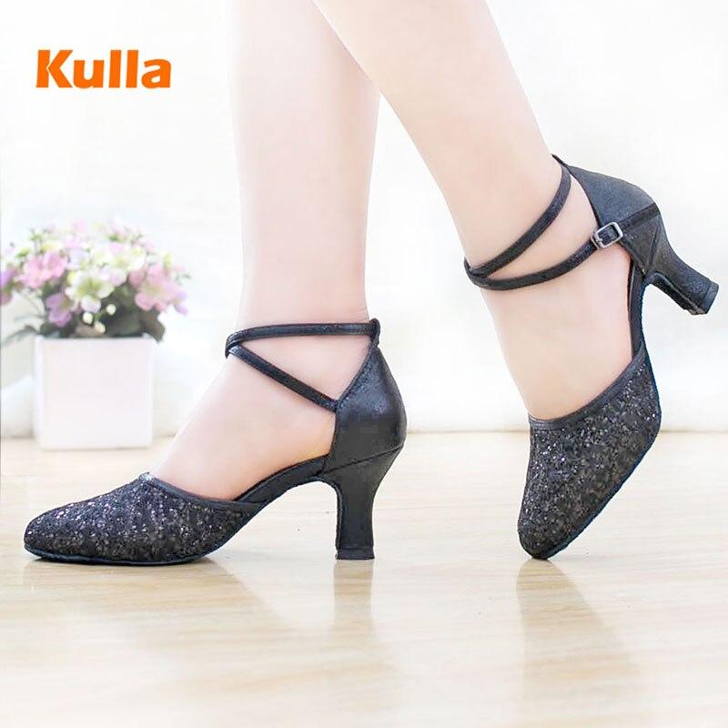 2017 новых высоких каблуках леди Латинский танец обувь женщин взрослый Латинский квадрат обувь с черный танцевальная обувь ...