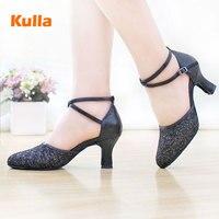 2017 nuove scarpe col tacco alto signora scarpe da ballo Latino delle donne nell'adulto quadrato Latino scarpe con scarpe da ballo nero